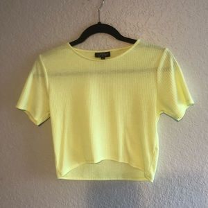 Yellow Ribbed Crop Top